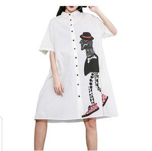 Tops - NWT Oversized White Graphic Emu Mini Dress or Top